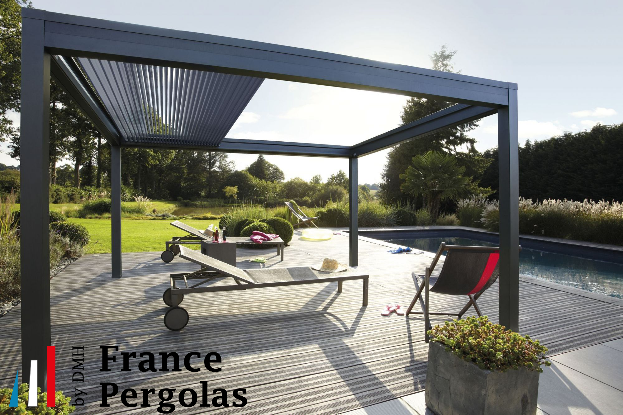 pergola bioclimatique lames orientables et r tractables france pergola by dmh. Black Bedroom Furniture Sets. Home Design Ideas
